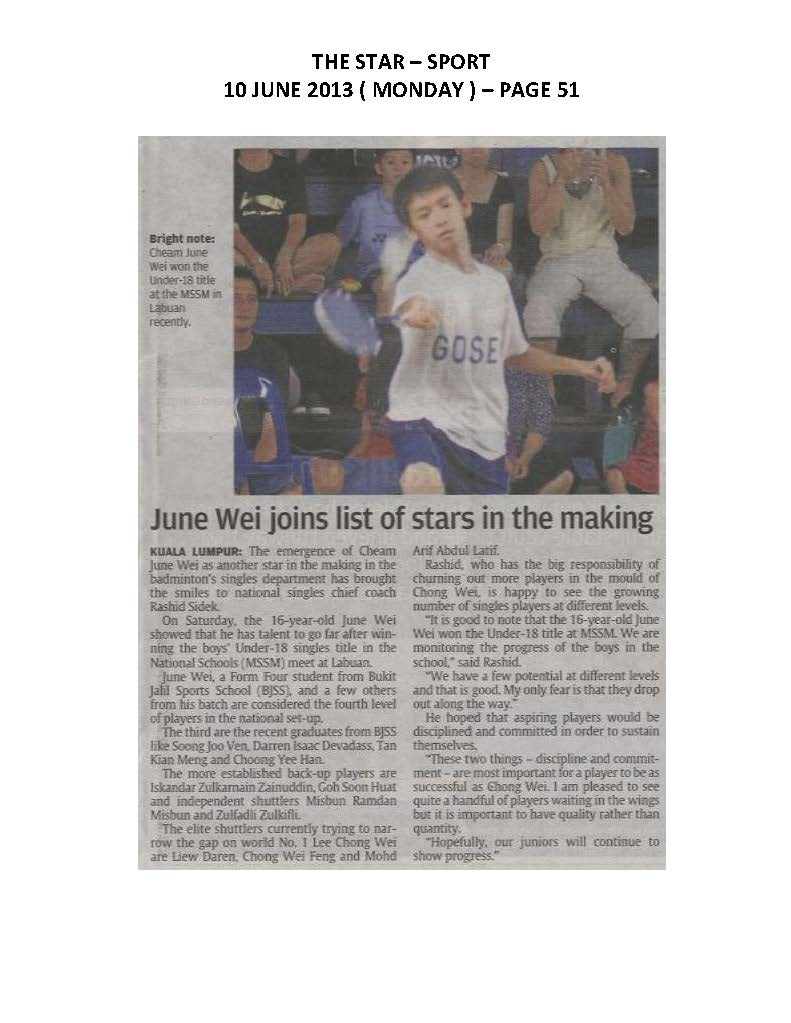 10.06.2013 - June Wei joins list of stars in the making- The Star