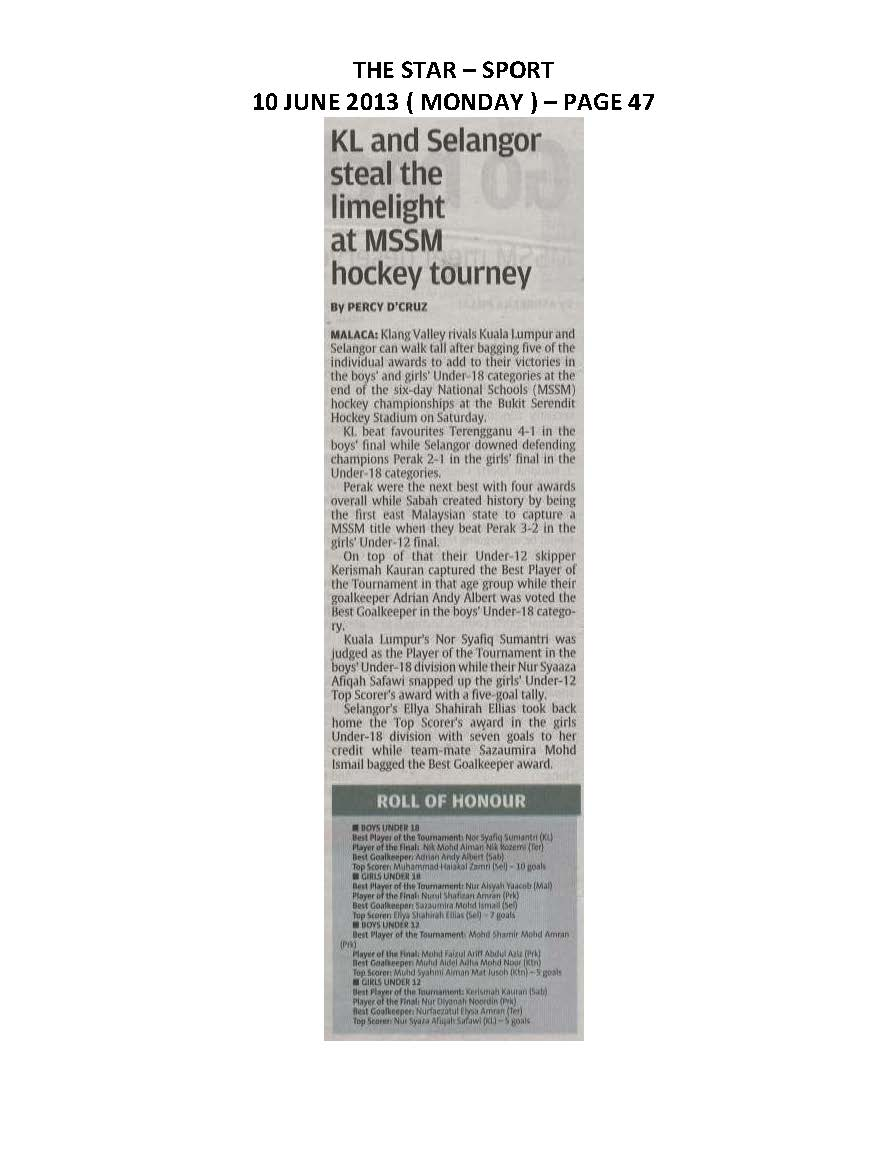 10.06.2013 - KL and Selangor steal the limelight at MSSM hockey tourney - The Star