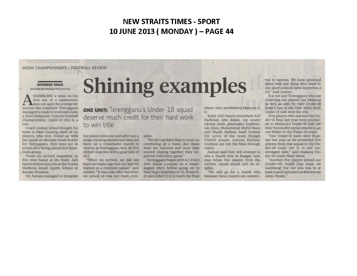 10.06.2013 - MSSM CHAMPIONSHIPS - FOOTBALL REVIEW - New Straits Times
