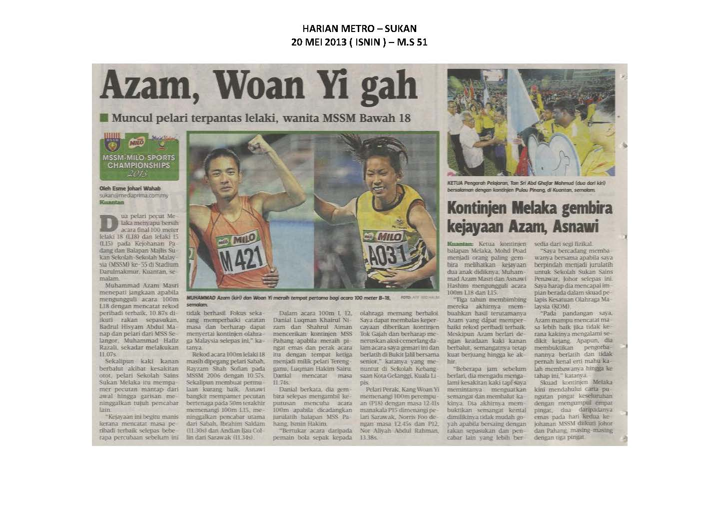 20.05.2013 - MSSM-MILO SPORTS CHAMPIONSHIPS 2013 - Harian Metro