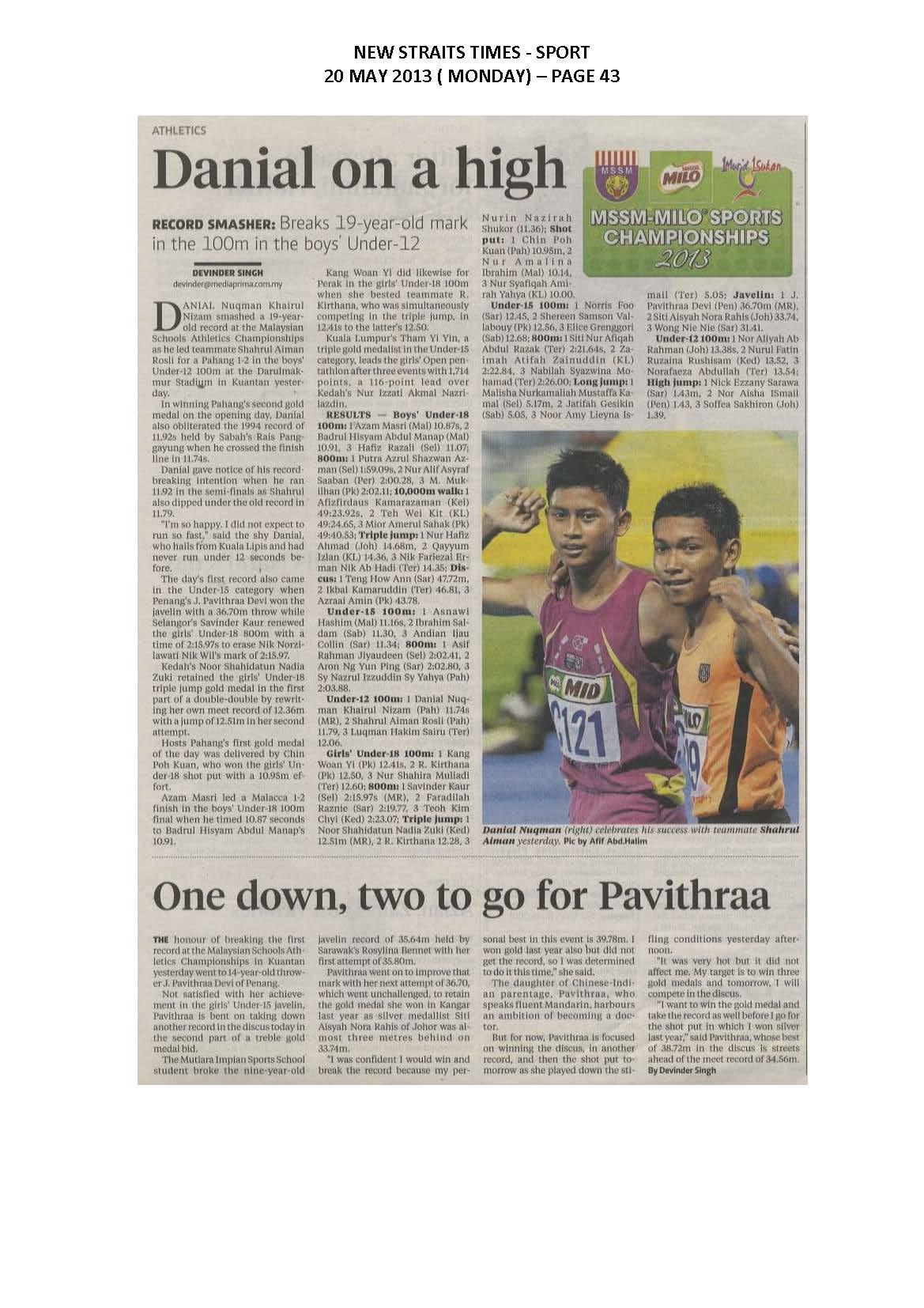 20.05.2013 - MSSM-MILO SPORTS CHAMPIONSHIPS 2013 - New Straits Times