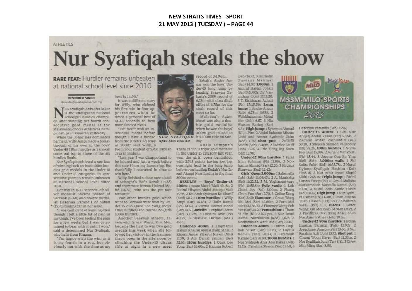 21.05.2013 - MSSM-MILO SPORTS CHAMPIONSHIPS 2013 - New Straits Times
