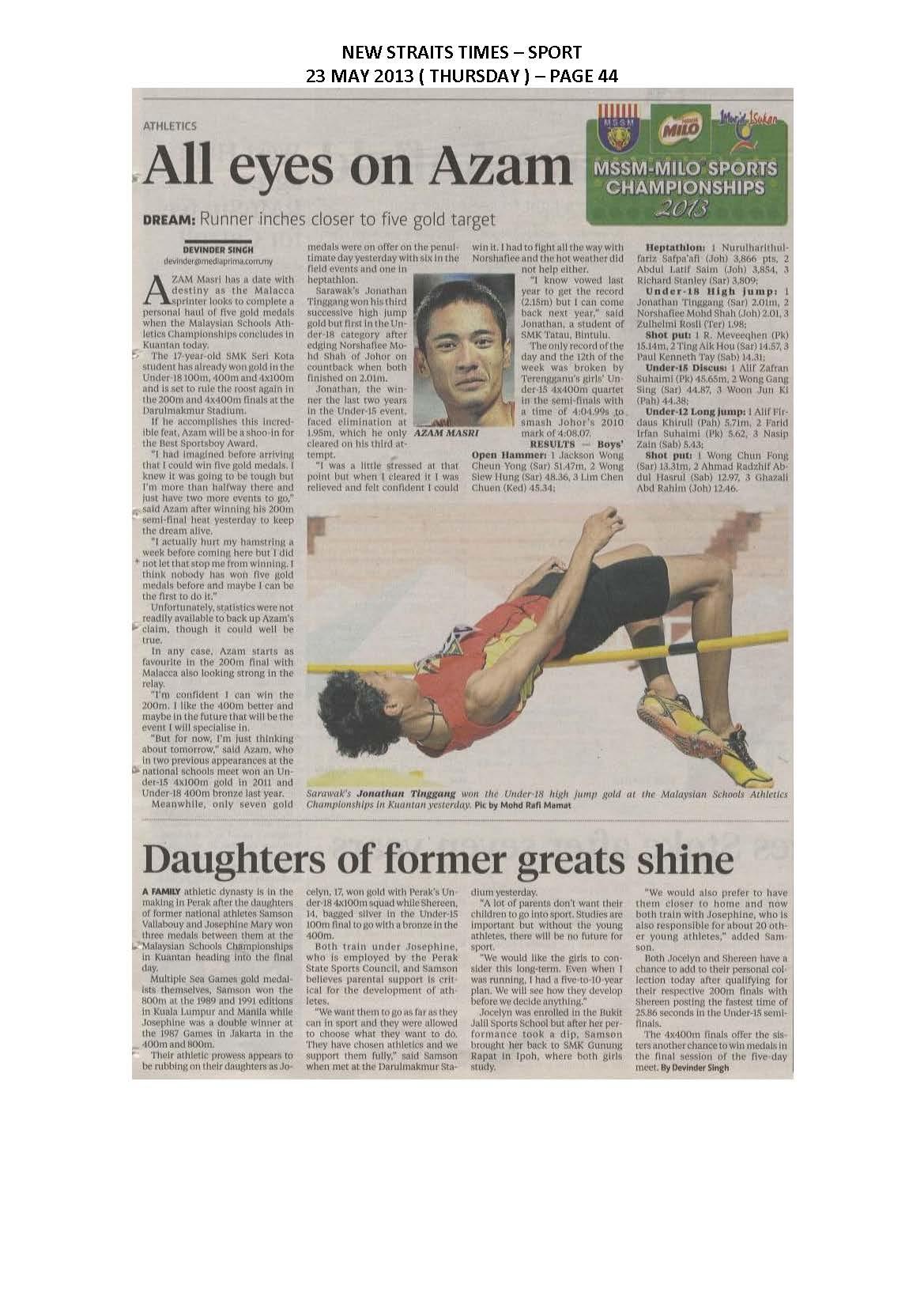 23.05.2013 - MSSM-MILO SPORTS CHAMPIONSHIPS 2013 - New Straits Times